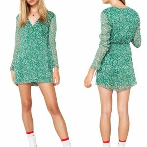 Revolve the east order green floral wrap dress